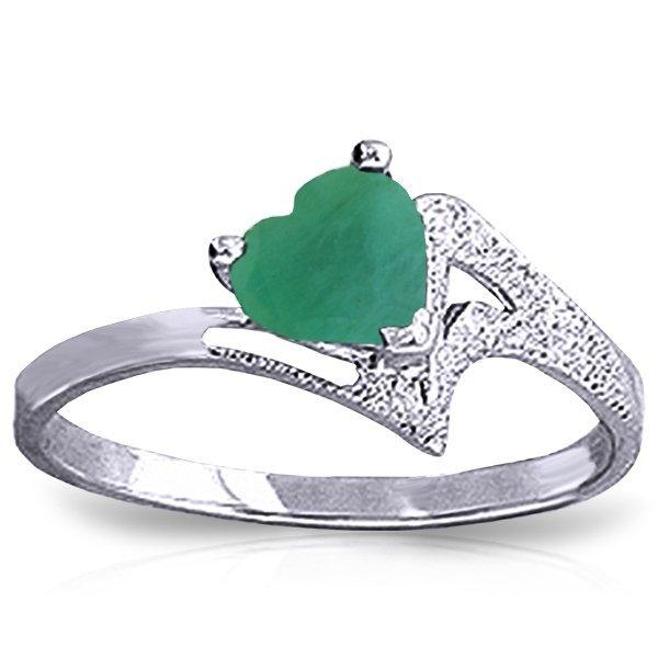14K White Gold 1.00ct Heart Shape Emerald Ring