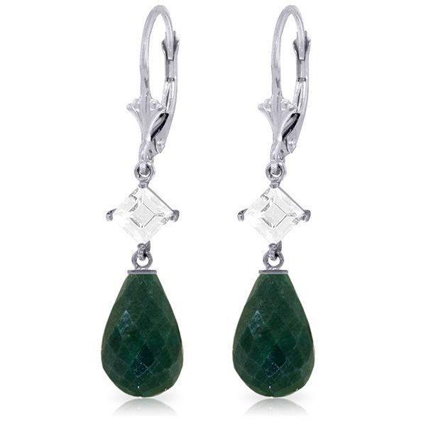 14K White Gold 17.60ct Emerald & White Topaz Earring