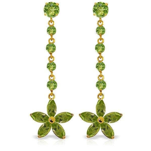 14k YG Peridot Flower Dangle Earrings