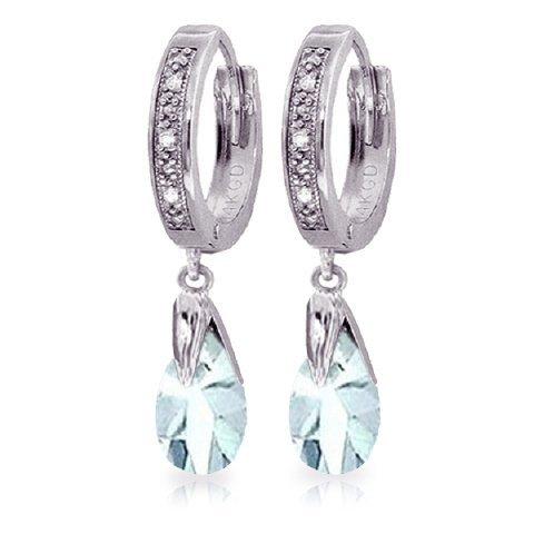 2.50ct Aquamarine Earrings & .03ct Diamond in 14k WG