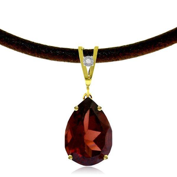 14K Solid Gold 6.0ct Garnet & Diamond Necklace