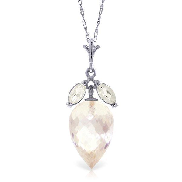 14K White Gold 12.25ct & .50ct White Topaz Necklace