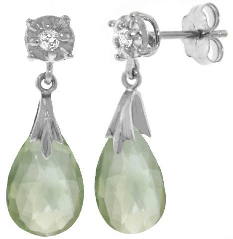 14k 6.0ct Green Amethyst Earrings with Diamond Accent
