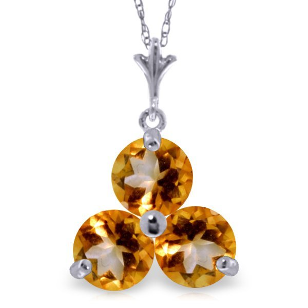 14K WHITE GOLD 0.75ct NATURAL CITRINES NECKLACE