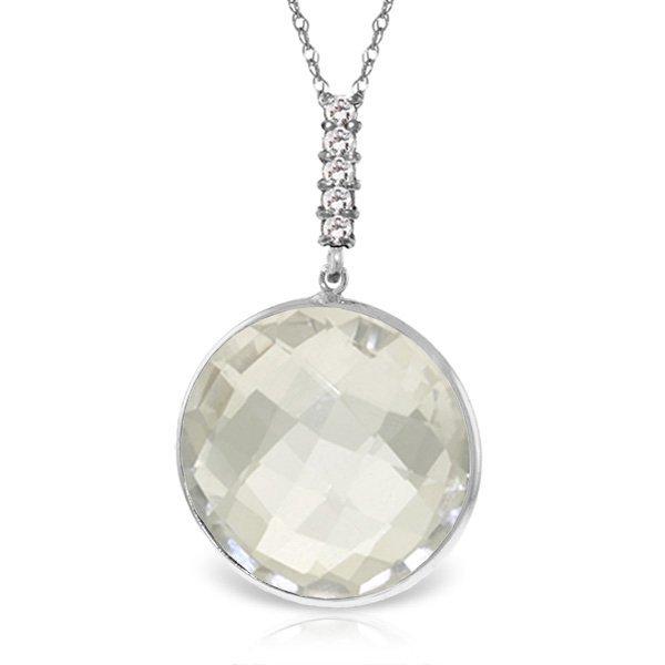 14K White Gold 18.0ct White Topaz & Diamond Necklace