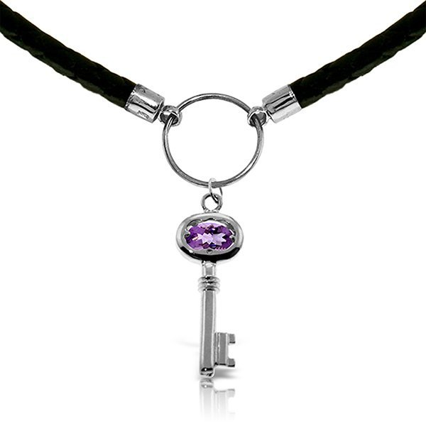 14K White Gold .50ct Amethyst Key Leather Necklace
