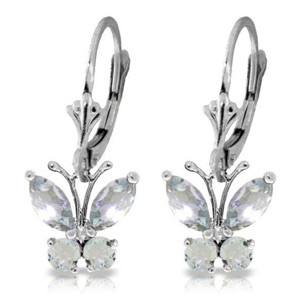 14k WG 1.24ct Aquamarine Butterfly Earrings
