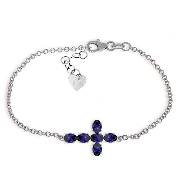 1.7ct 14k White Gold Cross Bracelet Natural Sapphire