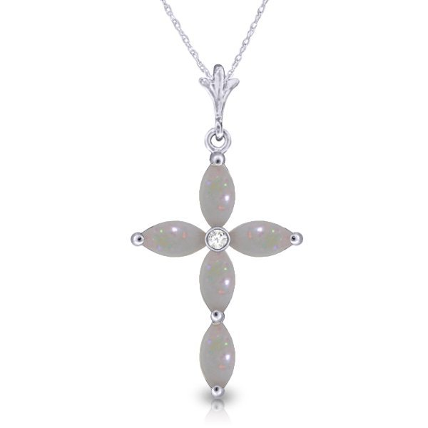 14K White Gold .67ct Marquis Opal & Diamond Necklace