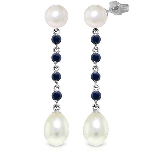 14k WG Sapphire & 8.0ct 2.0ct Pearl Chandelier Earrings