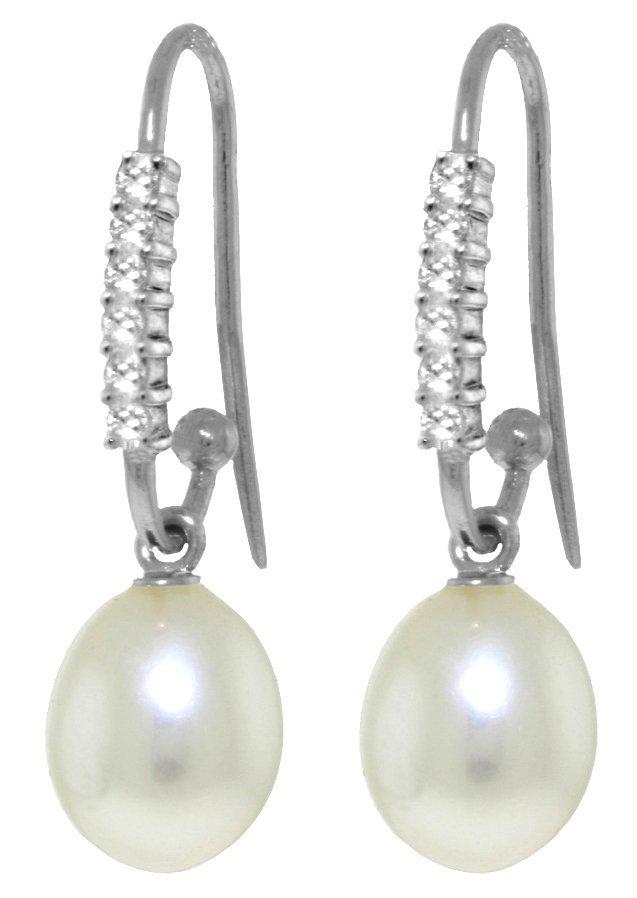 14k WG Diamond Fish Hook Earrings with 8.00ct Pearls