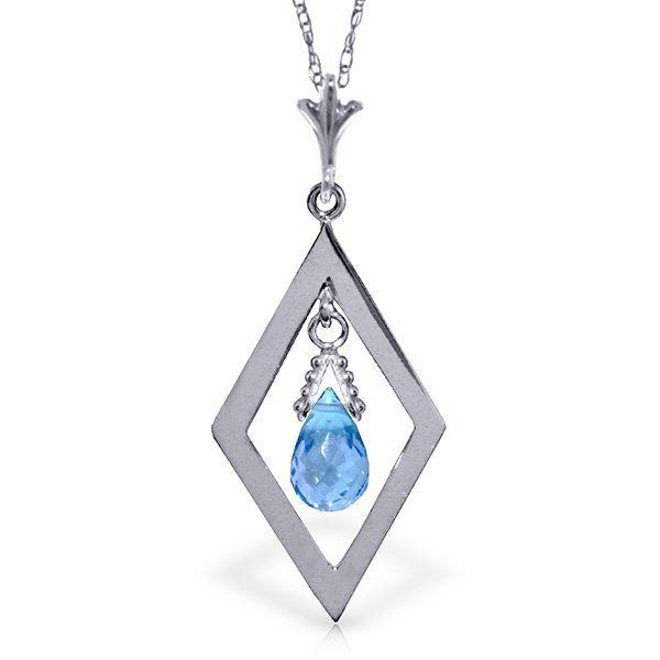 14K White Gold .70ct Briolette Blue Topaz Necklace