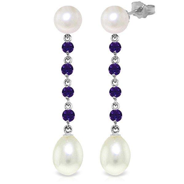 14k White Gold Amethyst & Pearl Drop Earrings