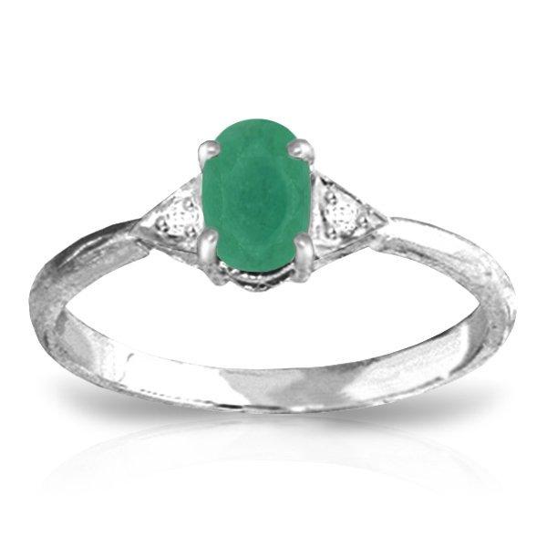14K White Gold .50ct Emerald & .01ct Diamond Ring