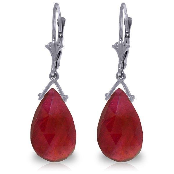 14K White Gold 16.0ct Briolette Ruby Leverback Earring