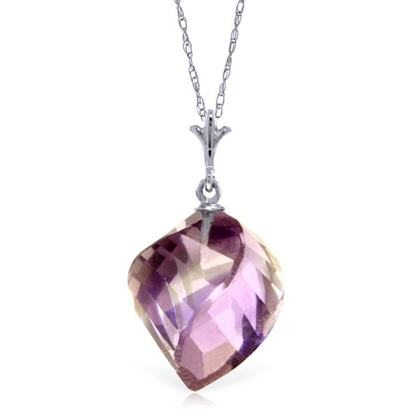 10.75ct Spiral Amethyst Necklace in 14k White Gold