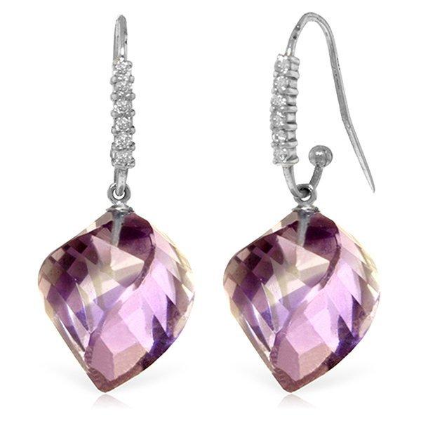 14k WG 21.50ct Amethyst & Diamond Earrings