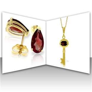 14K Solid Gold Set of Garnet Fine Jewelry (2)