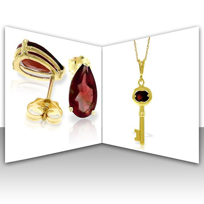 14K Solid Gold Set of Garnet Fine Jewelry (2)