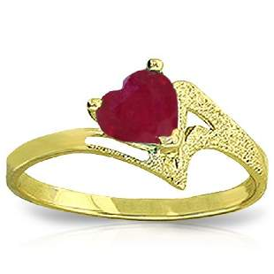 14k Yellow Gold 1.0CT Heart Ruby Ring