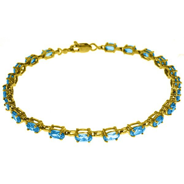 14k Solid Gold 5.50ct Blue Topaz Bracelet