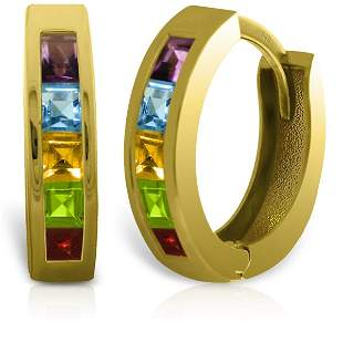 14k Solid Gold Multi Gemstone Earrings