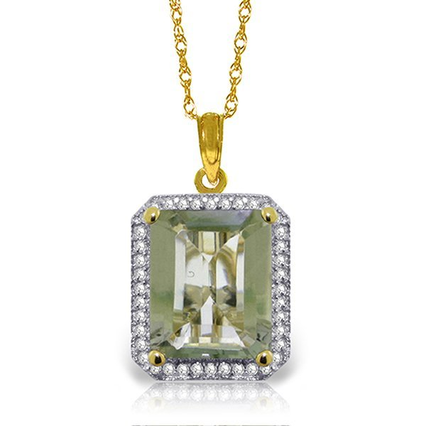 14k Solid Gold Green Amethyst & Diamond Necklace