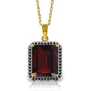 14K Solid Gold 7.50ct Garnet & Black Diamond Necklace