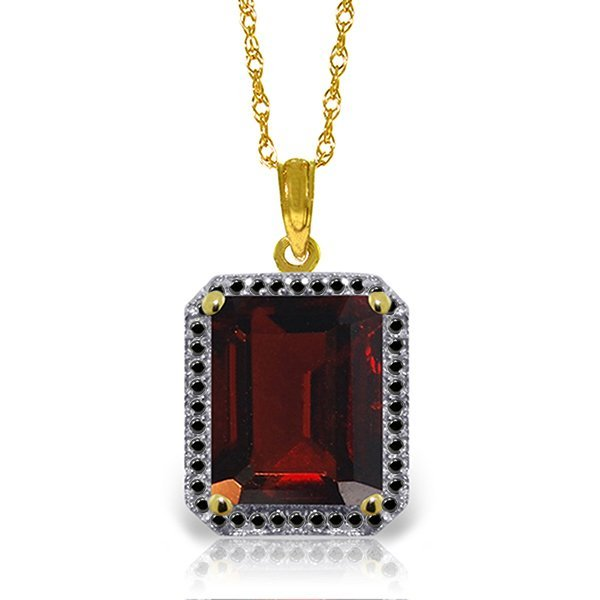 14K Solid Gold 7.50ct Garnet & Black Diamond Necklace