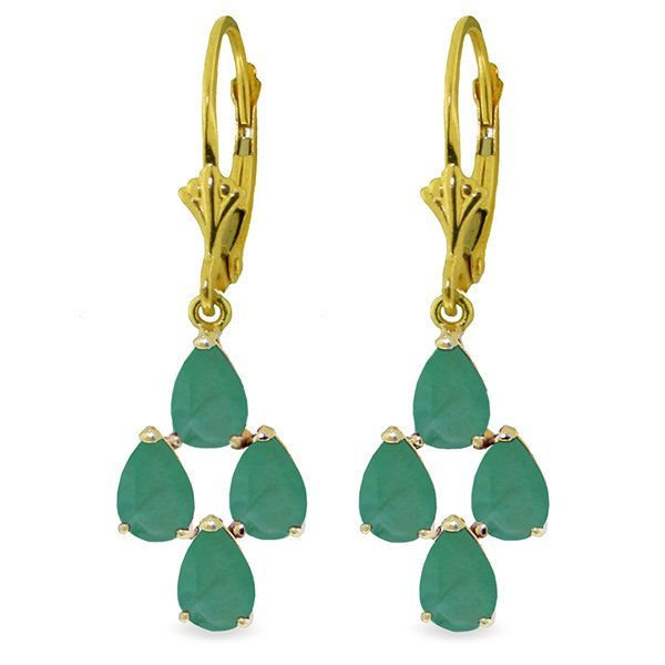 14K Solid Gold 4.50ct Pear Emerald Leverback Earring