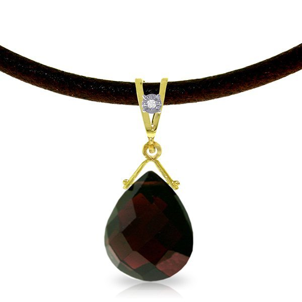 14K Solid Gold 6.5ct Garnet & Diamond Necklace