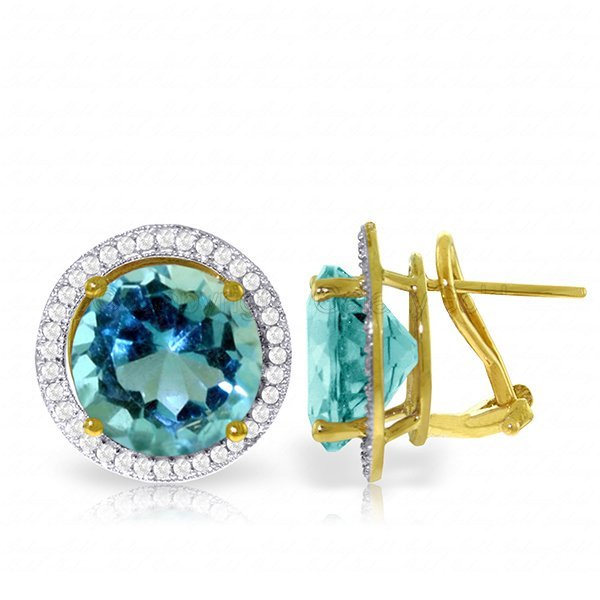14K Solid Gold 15.6ct Blue Topaz & Diamond Earring