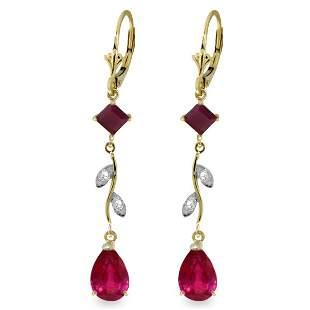 .95ct & 3.00ct Ruby Drop Earrings w/ DIAMOND in 14k YG
