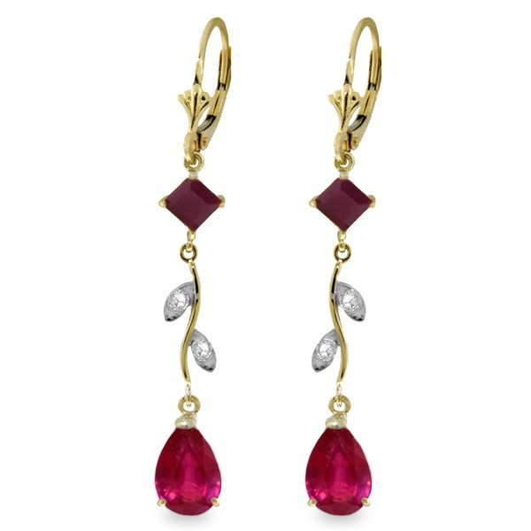 .95ct & 3.00ct Ruby Drop Earrings w/ DIAMOND in 14k YG