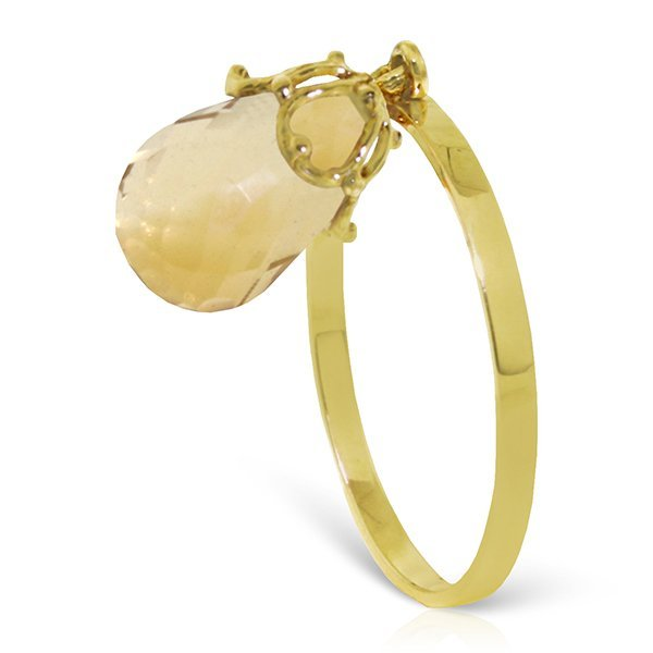 14k Solid Gold 3.0ct Dangle Citrine Ring