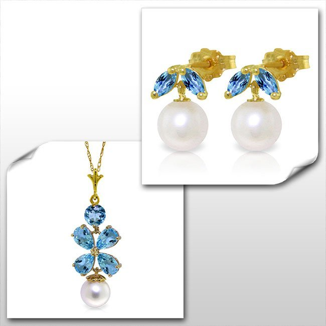 14K Solid Gold Set of Pearl & Blue Topaz Fine Jewelry