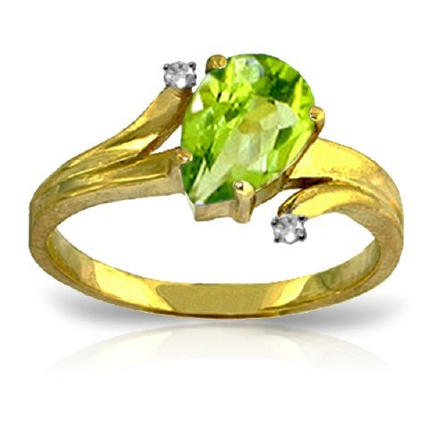 14K YELLOW GOLD DIAMOND & 1.50ct PERIDOT RING