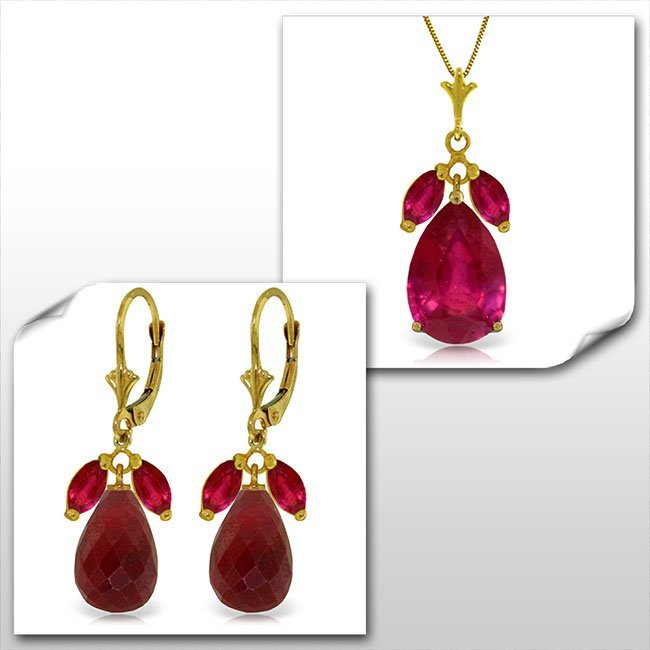 14K Solid Gold Set of Ruby Fine Jewelry (2)