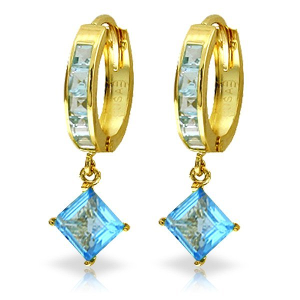 14K Solid Gold 3.2ct & 1.2ct Blue Topaz Dangling