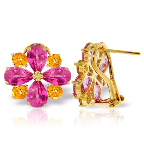 14k YG Pink Topaz & Citrine Flower Necklace