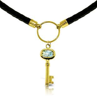 14K Solid Gold .50ct Aquamarine Key Leather Necklace