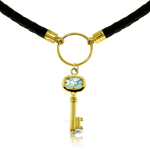 14K Solid Gold .50ct Aquamarine Key Leather Necklace