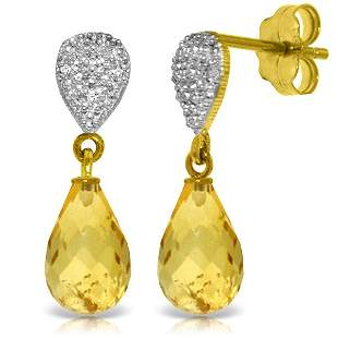 14k 4.50ct Citrine with Diamond Drop Earrings