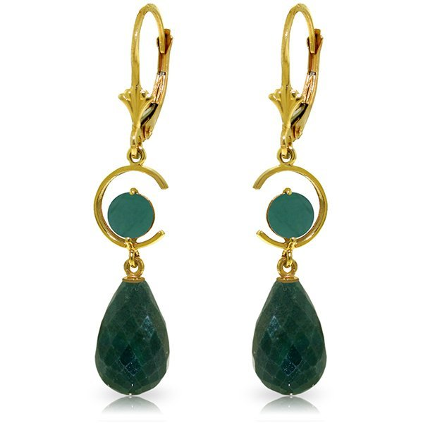 14K Solid Gold  17.6ct 1.0ct Emerald Leverback Earring