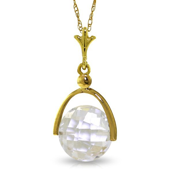 14k Solid Gold 3.65ct White Topaz Necklace