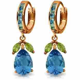 14K Rose Gold 12.0ct 1.3ct Blue Topaz & Peridot Earring