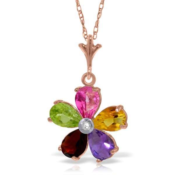 14k Solid Gold Multi Gemstone & Diamond Necklace