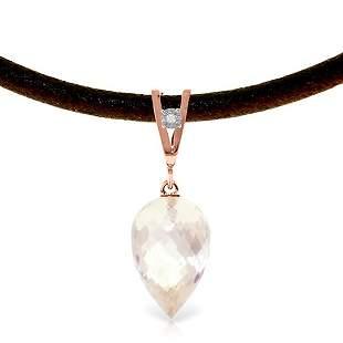14K Rose Gold 12.25ct White Topaz & Diaomnd Necklace