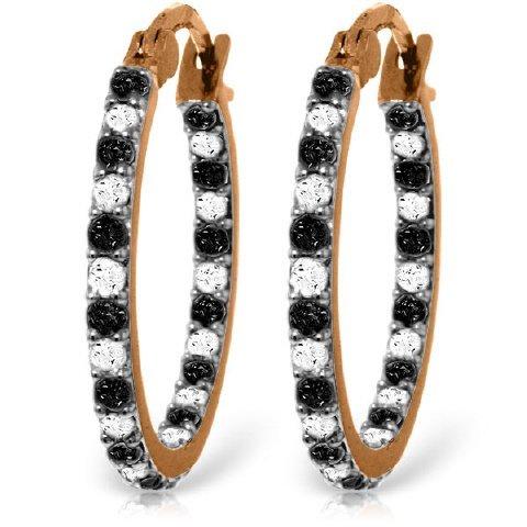 14k Solid Gold Black & White Diamond Hoop Earrings