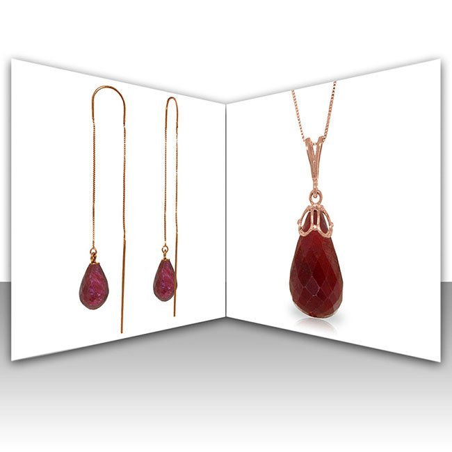 14K Rose Gold Set of Ruby Briolette Fine Jewelry (2)